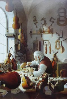The Violin Maker by Vida Gabor, a Hungarian artist born in 1937. In his early life he studied music & mastered the flute. For 25 years her was flute soloist in the Philharmonic orchestra for the Budapest Opera. Although, he had always painted & sculpted throughout his life, Gabor decided to dedicate himself fully to painting in 1977. He has since created his own unique style, therefore achieving the highest standards.