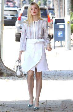 elle fanning stripes shirt white skirt street style