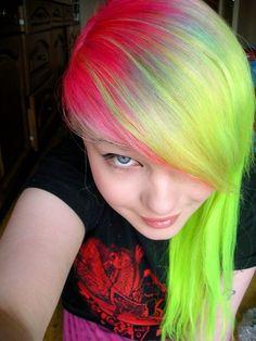 hair, hair color, multi-colored hair, green hair, pink hair, green, pink
