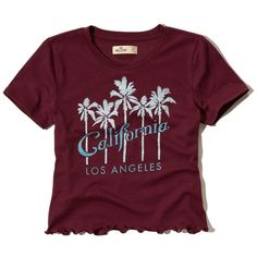 Hollister Cropped Graphic Baby Tee ($14) ❤ liked on Polyvore featuring tops, t-shirts, burgundy, burgundy t shirt, graphic tees, purple crop top, purple tee and graphic design t shirts