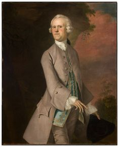 """""""Andrew Faneuil Phillips"""" by Joseph Blackburn (1755) in the Smith College Museum of Art, Massachusetts - From the curators' comments: """"Working in the Rococo style of Georgian London which is characterized by pastel colors, elaborate costumes, and contrived poses, Blackburn was the perfect choice for this wealthy loyalist family. Andrew, clothed in a dove-colored coat and breeches with a blue waistcoat encrusted in silver gilt, is depicted in exaggerated elegance."""""""