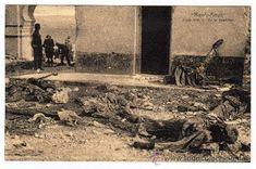 Campaña del Rif Reconquista de Monte Arruit Vista interior de la Posición con los cadaveres