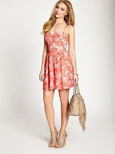 Sleeveless Floral-Print Lace Dress from Guess. Shop at http://www.cymplifi.com.