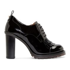 Valentino Black Brushed Leather Formal Derbys