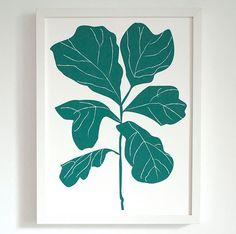 Fiddle Leaf Fig Screenprint #art #poster #etsy