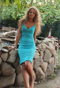 Crochet turquoise sundress Crochet Summer von MagicCrochetByHelena