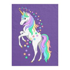Shop Pretty Rearing Rainbow Unicorn Falling Stars Fleece Blanket created by Fun_Forest. Cute Unicorn, Cute Rainbow Unicorn, Unicorn Wall, Unicorn Party, Beautiful Unicorn, Unicorn Painting, Unicorn Drawing, Unicorn Pictures, Unicorn Images
