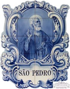 Portuguese Hand Painted São Pedro Tile Mural Azulejos A beautiful cutout tile mural with the São Pedro motive finely painted. Quantity: 20 tiles Size: X X (each tile size or Origin: Portugal Production method: Handmade, hand painted, XVI, XVII and XVIII Portuguese Culture, Portuguese Tiles, Painting Ceramic Tiles, Tile Art, Arts And Crafts House, Tile Murals, Catholic Art, Hand Painted Ceramics, Blue Flowers