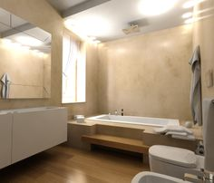 Progetto di bagno con pavimento e rivestimento in RESINA.  www.stanzedautore.it