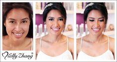 Beautiful bride to be! Romantic & pretty shade of pink complements dramatic eye makeup. Makeup look by senior stylist Sarah; #kellyzhang #kellyzhangstudio #pasadena #wedding #trial #bridal #bride #makeup #hair #updo