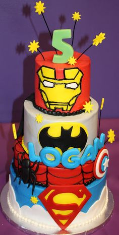 Superhero Cake    Blake Likes the iron man face on this cake - also like these clouds   Also could add name on cake and #3, or not - whatever is easiest, doesn't really matter - wherever you think looks best