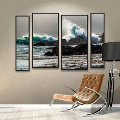 The Wave, Long Beach 4 Piece Framed Photographic Print Set