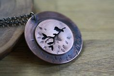 Nature necklace in copper by PeculiarForest on Etsy