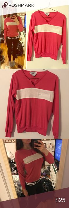Pink striped pocket vintage 90s long sleeve💖 Pink and white striped pocket zipper long sleeve shirt 💖😊 vintage from the 90s 💕 bundle deals and ships same day 💕 not free People or nasty gal 💕 topshop doll skill Kawaii 90s thrift babe alternative vs pink pastel Brandy Kylie hot topic mermaid emo Free People Tops Tees - Long Sleeve