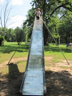 huge metal slide, staple on every playground when I was a kid....and watch out when it was summertime!!! HOT