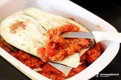 Zapekaný baklažán s ragú z červenej šošovice - recept | mozessavydavat.sk Mozzarella, Risotto, Ale, Meat, Chicken, Ethnic Recipes, Fitness, Food, Beef