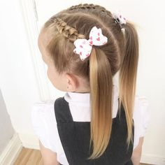 Easy and distinctive kids hairstyles for school Girls Hairdos, Baby Girl Hairstyles, Cute Hairstyles For Short Hair, Braided Hairstyles, Curly Hair Styles, Short Haircut, Hairdos For Little Girls, Little Girls Ponytail Hairstyles, Easy Toddler Hairstyles