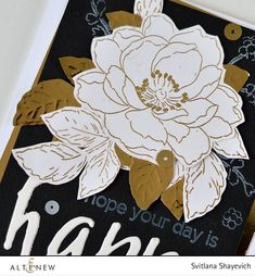 A flower and leaves from Beautiful Day stamp set were gold embossed on Classic Crest Solar White cardstock. | Altenew