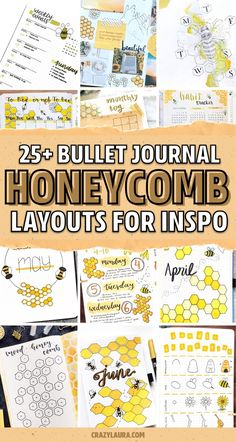 Looking for the perfect spring or summer theme to try in your bullet journal!? Check out these super cute bee themed monthly covers, weekly spreads, habit trackers and more for inspiration! #bulletjournal #bujo #bujotheme #bulletjournalideas Bullet Journal Titles, Bullet Journal Spread, Bullet Journal Inspiration, Bullet Journals, Journal Ideas, Bullet Journal Decoration, Simple Geometric Designs, Bee Illustration, Bee Photo