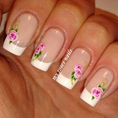 French manicure with floral water decals  http://myrosesnails.blogspot.com/2015/02/french-manicure-with-floral-water-decals.html