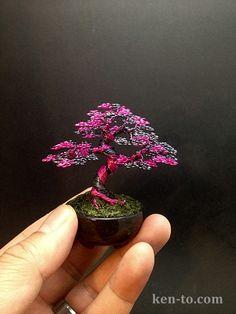 Hematite Pink upright wire bonsai tree by Ken To by KenToArt.deviantart.com on @deviantART