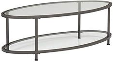 Studio Designs Home Camber Oval Glass Coffee Table In Pewter With Clear Glass, Living Room Coffee Table, Modern Glass Coffee Table, Contemporary Coffee Table, Glass Dining Table, Round Coffee Table, Kitchen Dining, Square Storage Ottoman, Home Kitchens, Clear Glass, House Design