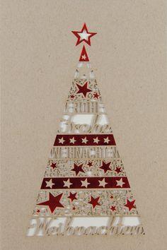 Ein wunderschöner Weihnachtsbaum mit vielen,  vielen Sternen geschmückt ziert diese #Weihnachtskarte für alle Ihre Lieben! Christmas Tree, Holiday Decor, Christmas, Schmuck, Teal Christmas Tree, Xmas Trees, Christmas Trees, Xmas Tree