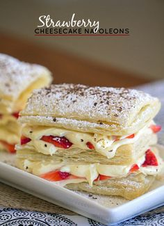Fresh strawberries, vanilla pudding, cool whip, cream cheese and puff pastry come together to make these Strawberry Cheesecake Napoleons. It's been a while since I posted a dessert. Puff Pastry Desserts, Puff Pastry Recipes, Köstliche Desserts, Delicious Desserts, Dessert Recipes, Yummy Food, Plated Desserts, Gourmet Recipes, Cooking Recipes