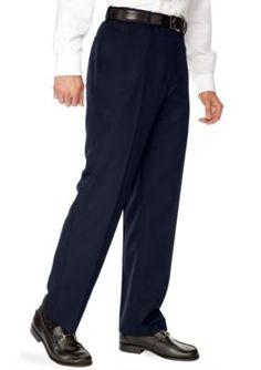 Saddlebred Navy Big  Tall Straight Fit Flat Front Wrinkle Resistant Dress Pants