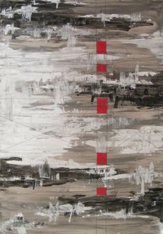 TABLEAU PEINTURE rouge carés gris design - Carés rouges sur gris