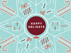 abstract snowflake design with logos or characters :: Holiday Illustration by katie kemp