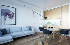 Home Design Under 60 Square Meters: 3 Examples That Incorporate Luxury In Small Spaces Modern Apartment Decor, Apartment Layout, Futuristisches Design, Interior Design, Design Ideas, Living Room Designs, Living Room Decor, Dining Room, Small Floor Plans