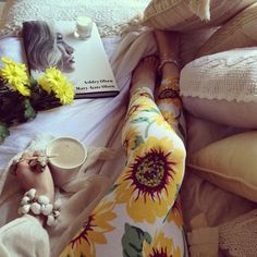 sunflower leggings | coffee | yellow flowers | pillows | candles