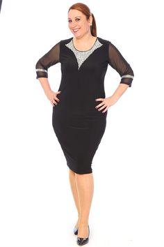 Boncuk İşlemeli Abiye Elbise EL14412 Siyah