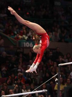 If I could have chosen any one of these to compete on as a fave it would have been the uneven bars. But there is MUCH BEAUTY in all Gymnastics! Nastia Liukin's fabulous amplitude on uneven bars - Pac Salto plus gymnast gymnastics Gymnastics Quotes, Gymnastics Pictures, Sport Gymnastics, Artistic Gymnastics, Olympic Gymnastics, Rhythmic Gymnastics, Gymnastics Stuff, Gymnastics Posters, Olympic Games