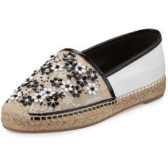 Rene Caovilla Flower-Embellished Lace Espadrille Flat ($510) ❤ liked on Polyvore featuring shoes, flats, lace espadrilles flats, floral cap, round toe flats, flower print shoes and bead caps