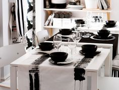 Creative dining with tableware and fabric napkins