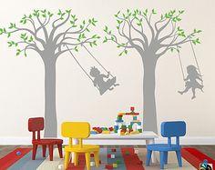 "Children Playroom Tree Wall Stickers School Kids Vinyl Wall Decors - Children Play Swing (83"" H) - Boys Girls Room Decors Must Have pt0252"