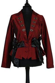 Raven Gothic Ladies Jacket, Burgundy Steampunk Jacket with Keyhole Lapels