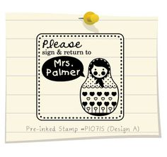 Russian Doll Stamp. Personalized Library Stamp, Children Stamp, Teacher Stamp, Christmas Gifts, Custom Rubber Address Stamp (P1071S)