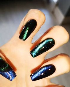Nails gel, we adopt or not? - My Nails Halloween Acrylic Nails, Best Acrylic Nails, Acrylic Nail Designs, Black Acrylic Nails, Black Nails, Pink Nails, Glitter Nails, Gel Nails, Silver Glitter