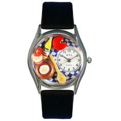 The Gourmet Whimsical Watch celebrates the joy of cooking, with a plethora of hand-painted miniature cooking utensils, cheese, egg, vegetables, and olive oil. A great gift for the foodie in your famil