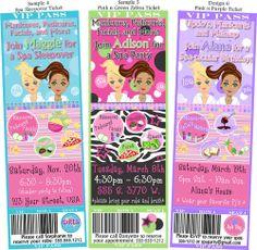 spa party ideas for girls birthday   Printed Spa/Girls Night In Birthday Party Ticket Invitations Zebra ...