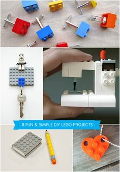 8 Easy DIY LEGO Projects.  love the key holder