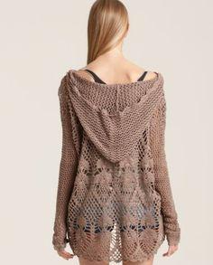 crochelinhasagulhas: Blusa marrom de crochê
