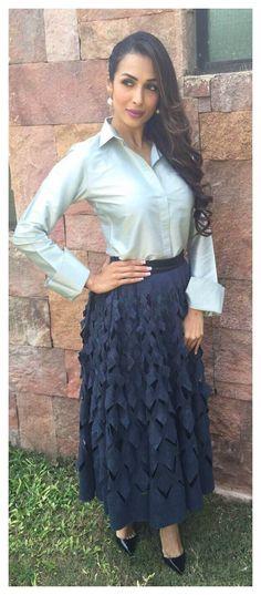 Malaika Arora Khan in payalkhandwala  silk nara shirt