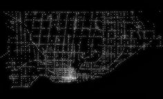 This beautiful image of Toronto might look like an album cover for an 80s synthpop band, but it's actually a visual representation of every traffic light-controlled intersection in the city. A pinpoint of light for every set of lights.  The image (full-size version here) was created using information from the city's open data portal by William Davis, a Reddit user. Late last year Davis used city data to track infilling along the downtown waterfront.