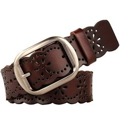 JasGood Women's Hollow Flower Genuine Cowhide Leather Belt With Alloy Buckle (Dark Brown) - http://todays-shopping.xyz/2016/07/05/jasgood-womens-hollow-flower-genuine-cowhide-leather-belt-with-alloy-buckle-dark-brown/