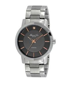 Kenneth Cole Mens Stainless Steel Bracelet Watch with Diamond Embellis