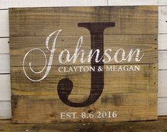 Custom Wedding Gift Family Name Wood Sign by EverydayCreationsJen
